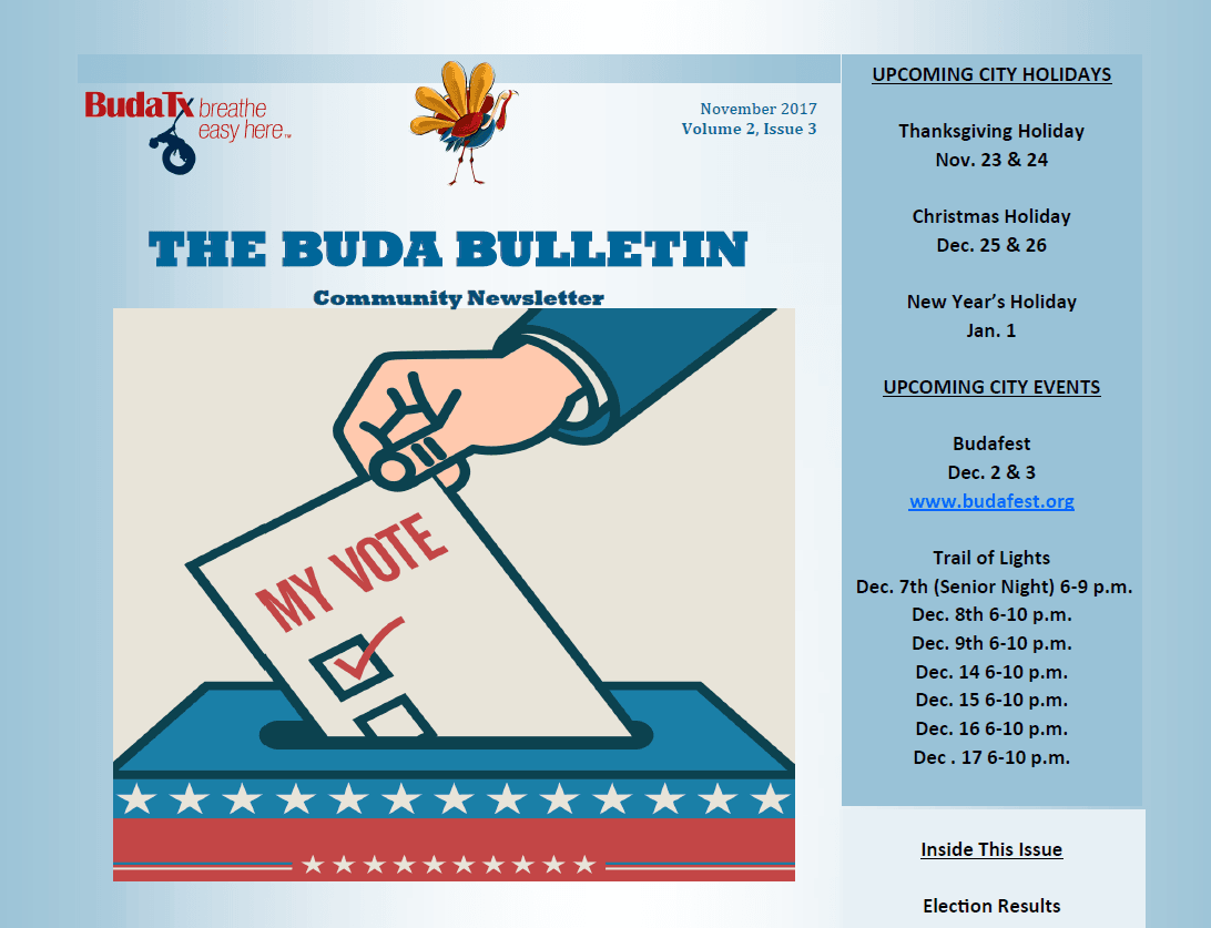 BUDA BULLETIN - NOV. 2017 PHOTO