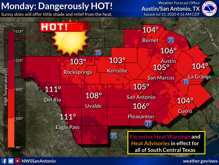 Excessive Heat Warning - Temperatures