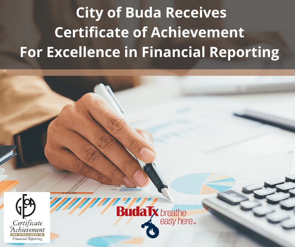 City of Buda Receives Certificate of Achievement For Excellence in Financial Reporting