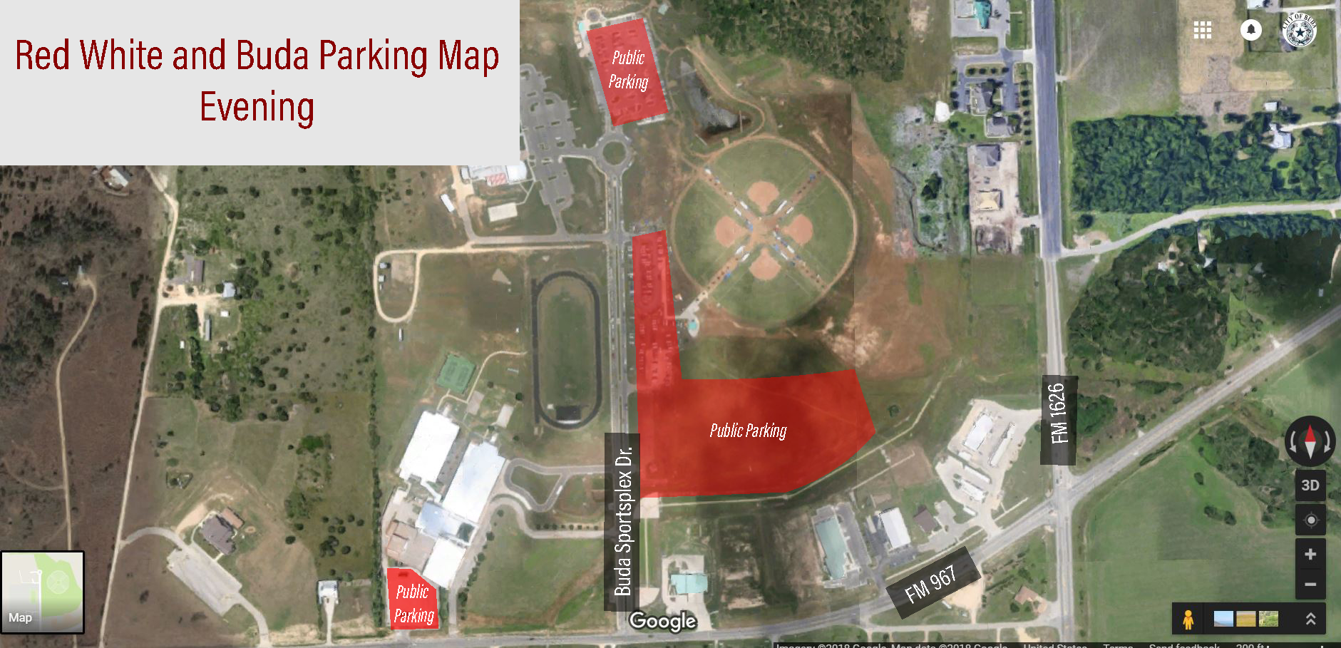 Red White and Buda Parking Map for Evening Events - Fireworks - July 4, 2018