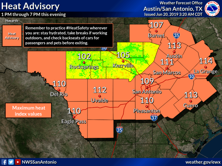 Heat Advisory - June 20, 2019