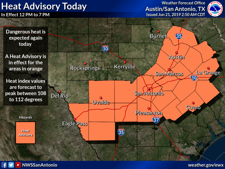 Heat Advisory - June 21, 2019